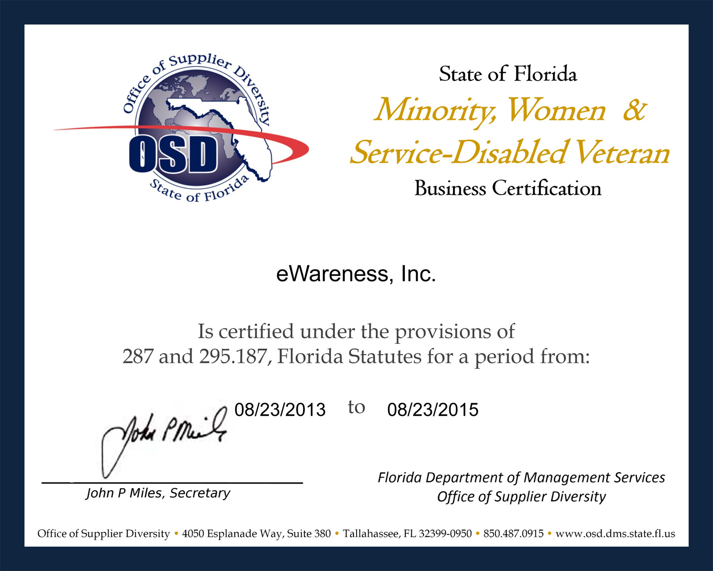 eWareness-Florida-OSD-MBE-Certificate